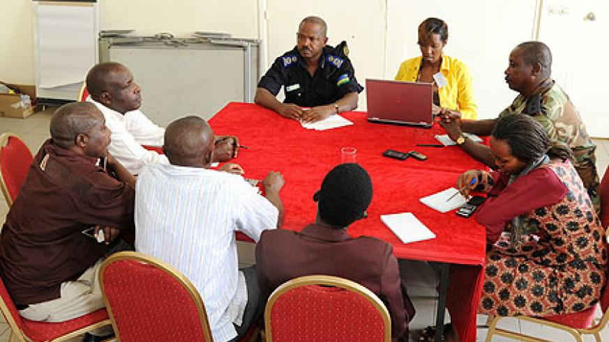 Government agencies officials during the emergency preparedness meeting (Photo; T. Kisambira)