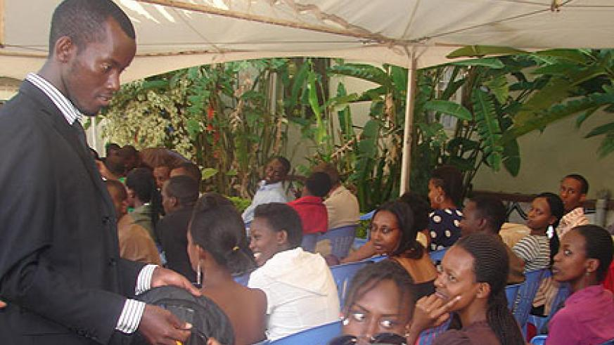 UCU students participate in the exercise to raise funds for the project (Photo; E. Kabeera)