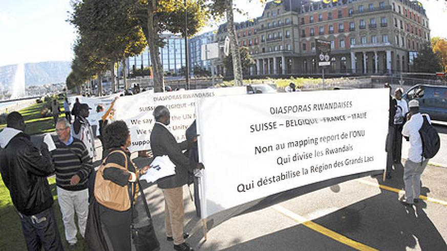 Some of the demonstrators hold banners on the streets of Geneva (Courtesy photo)