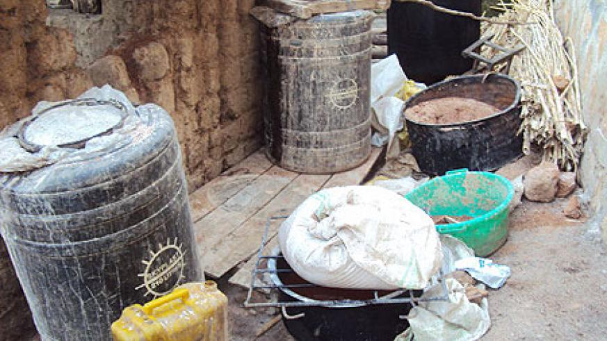 Part of a consignment of local brew impounded from homes of suspected illicit brewers. Photo D.Sabiiti