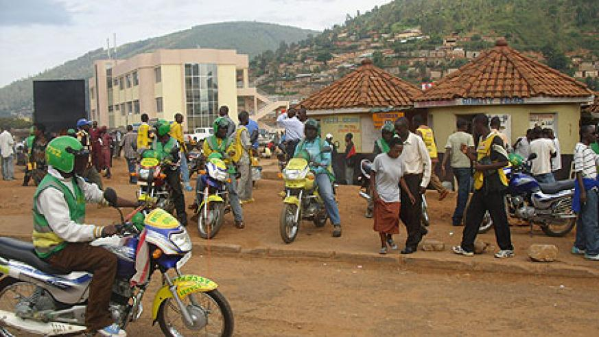 Motorcycle taxi operators in Kigali. Theft of Motocycles has been on the rise (File Photo)