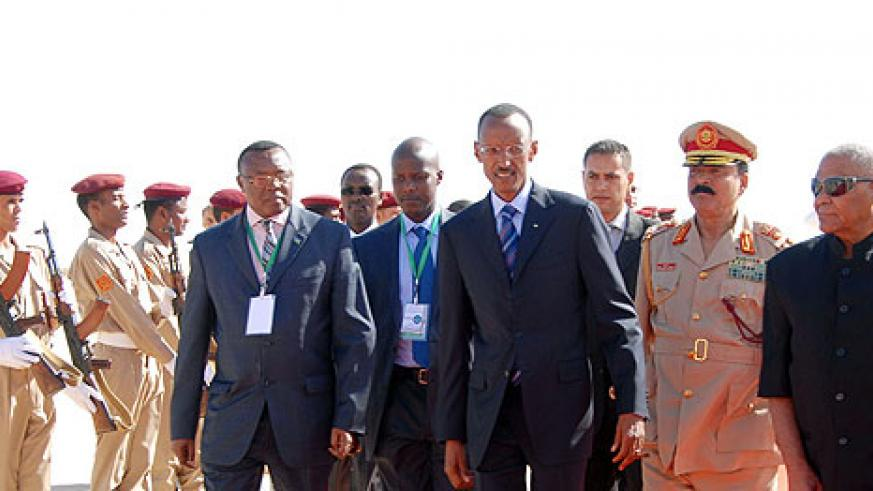 President Paul Kagame arriving at Sirte International Airport  in Libya, to attend The Second Afro-Arab Summit, yesterday (Photo Urugwiro Village).