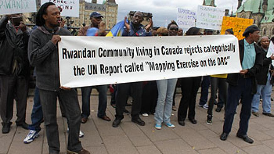 Rwandans in Canada during the demonstrations against the UN report (Courtesy photo)