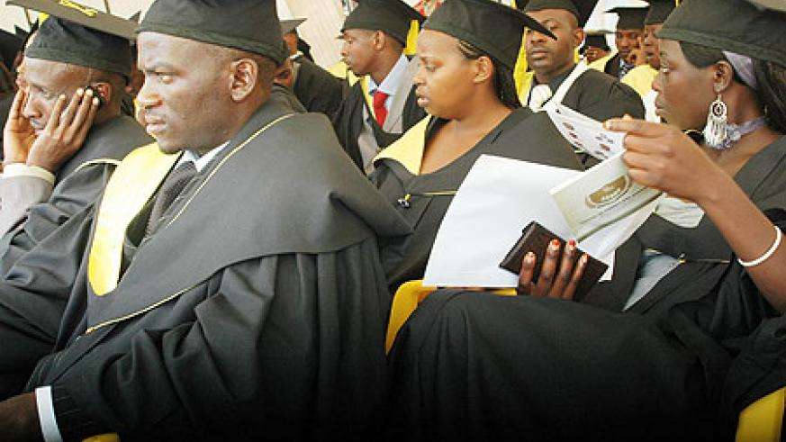 Some of the Graduates at SFB. Government has called upon institutions to facilitate students to get part time jobs to sustain themselves after the scrapping of students' bursaries