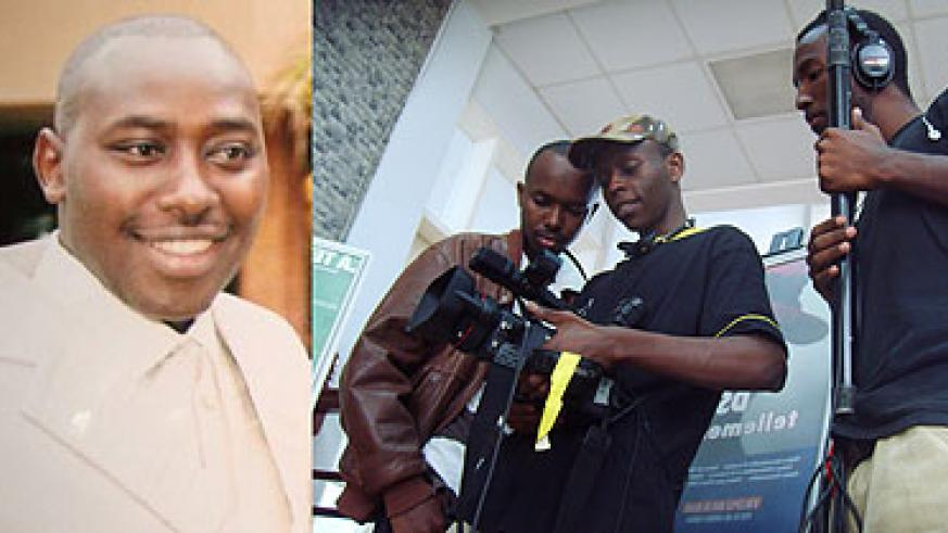 L-R : Went too soon. Claver Shayaka ; In action. Jerome Mugabo ( C) with his camera crew.