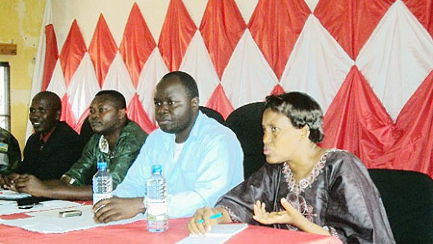 Local leaders discuss new strategies of propelling growth in Nyange sector. (Photo: D. Sabiiti)