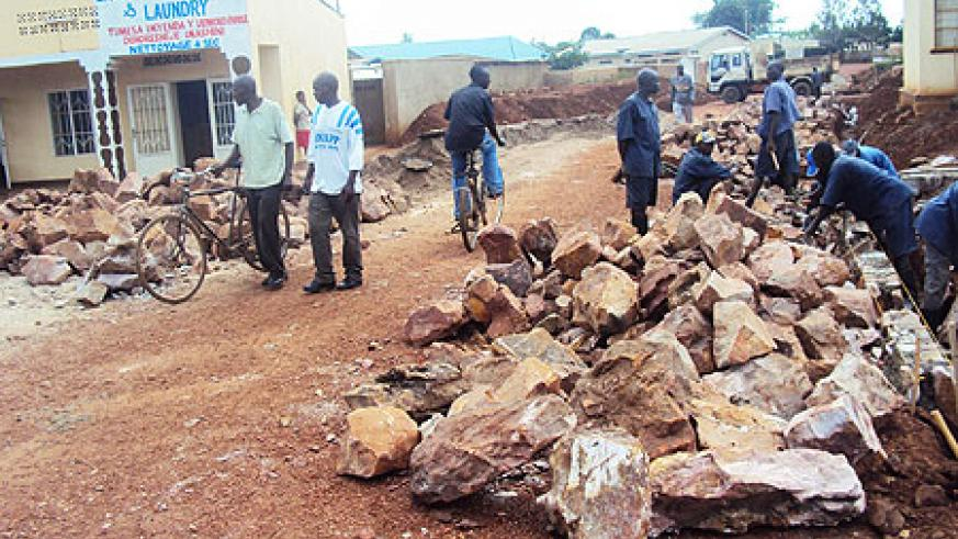 Road construction works under way in Kayonza town. Photo by S. Rwembeho.