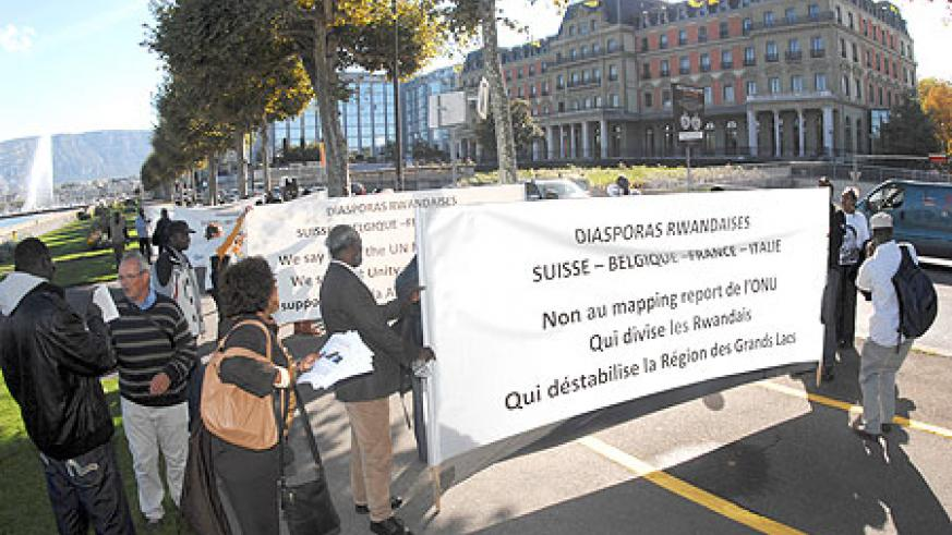 Demonstrators protesting the report in front of UN offices in Geneva. (Courtesy photo)