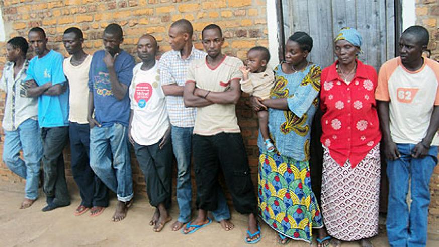 The suspected drug abusers and dealers at Rwamagana Police Station. (Photo: S. Rwembeho)