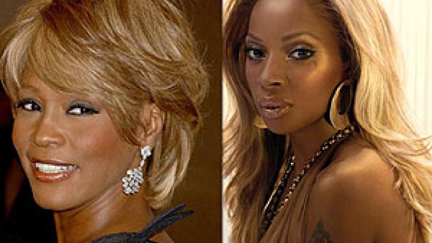 L-R : Mary J.Blige donning one too ; Whitney Houston sporting a wig