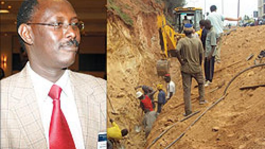 L-R : COMMENTED Dr Theobald Hategekimana ; Workers searching for their colleagues after the landslide (Photo. G .Mugoya)