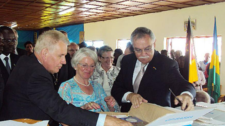Hon. Karl Peter Bruch (R) during the launch (Photo; D. Sabiiti)