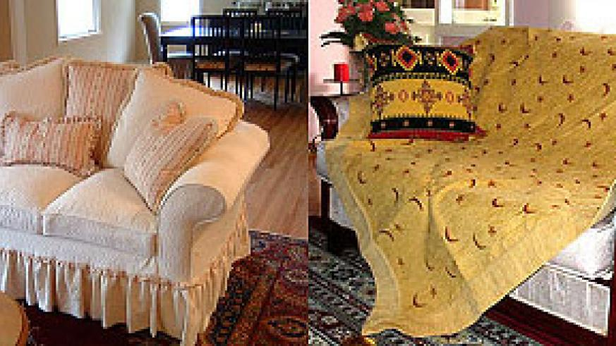 L-R : Sofa with puckered flange ; Sofa cover keeps dust and dirt out
