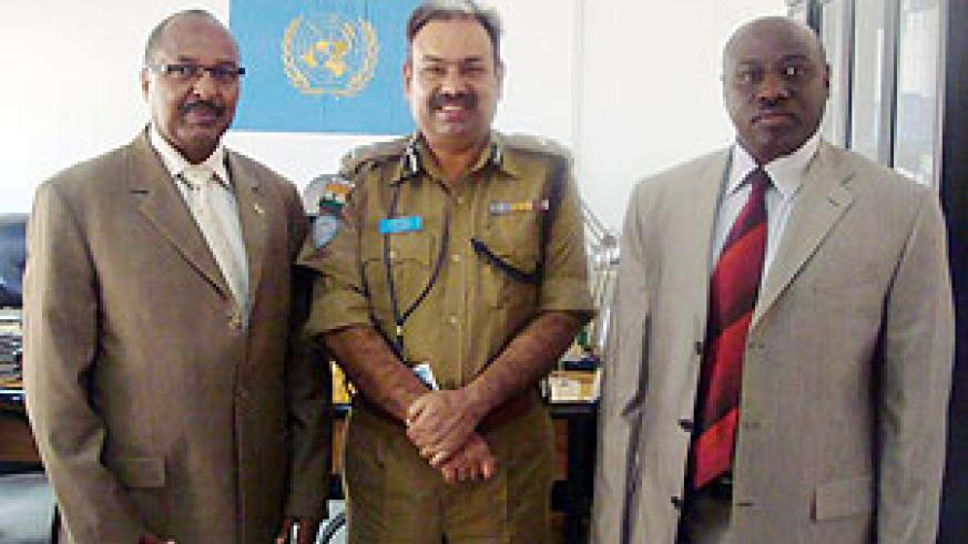 CGP Gasana(R),Maj Gen Rajesh Dewan, UNMIS Police Commissioner(C) and Head of Rwanda Diplomatic Mission in Sudan,  Joseph Rutabana at UNMIS Headquarters in Khartoum.