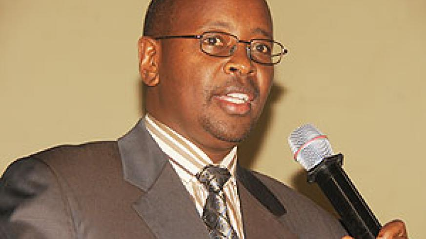 The Minister of Local government, James Musoni addressing the local leaders yesterday (courtesy photo)