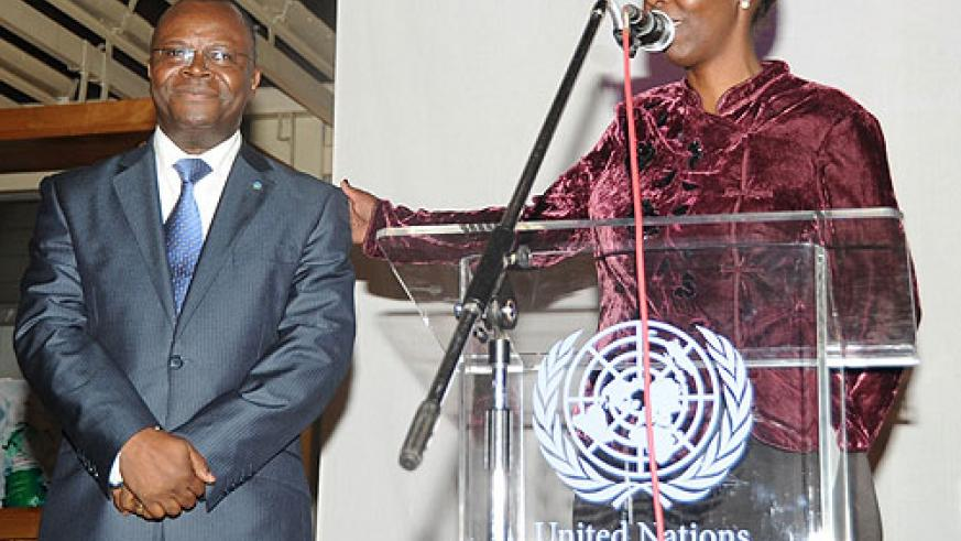 Louise Mushikiwabo (R) with the UN Resident Coordinator Aurelien Agbenonci during celebrations to mark the UN Day on Saturday (Photo; J Mbanda)