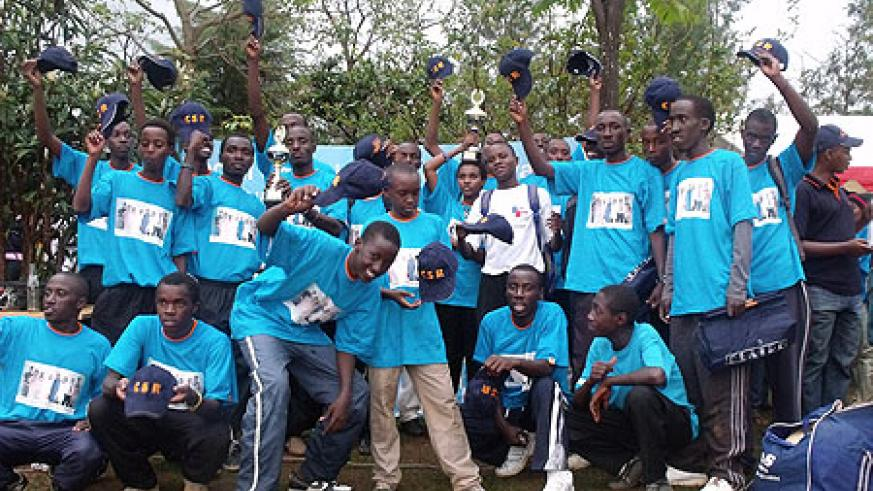LDK players pose after Sunday's resounding victory over ISAE Busogo in the CSR  Schools Cricket tourney.