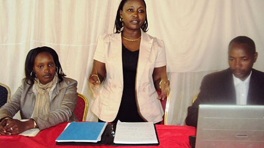 Minister Solina Nyirahabimana (C) flanked by Rwamagana leaders during the meeting (Photo; S. Rwembeho)