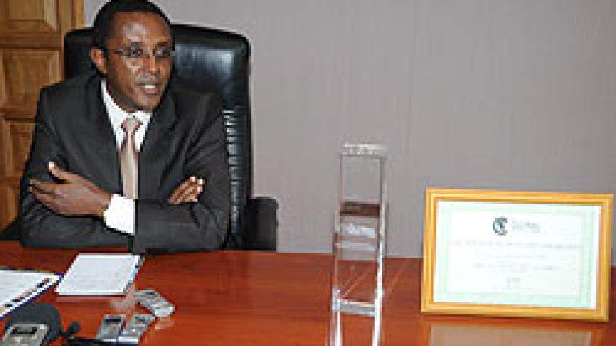 The president of the Senate, Dr. Vincent Biruta during the press conference yesterday (Photo; J. Mbanda)