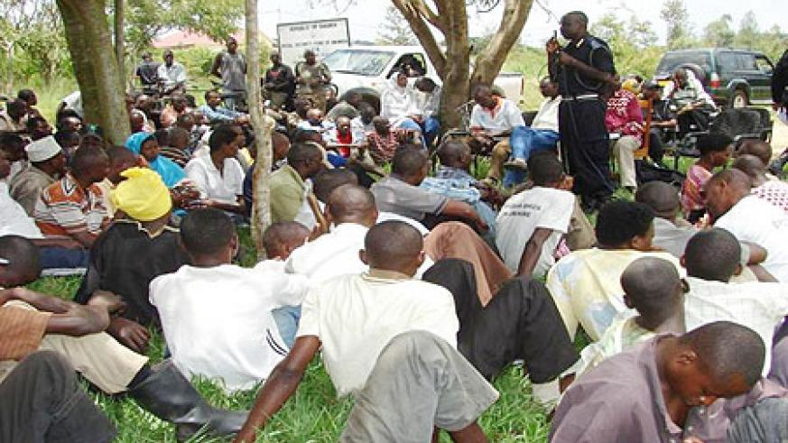 Some members of community being sensitised on community policing.