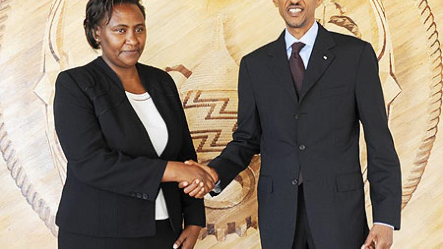 President Paul Kagame with Kenya's new envoy, Rose Makena Muchiri, yesterday. (Photo Urugwiro Village)