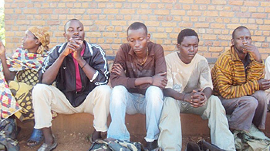 Some of the suspects at Kabarore Police Post (Photo; D. Ngabonziza)
