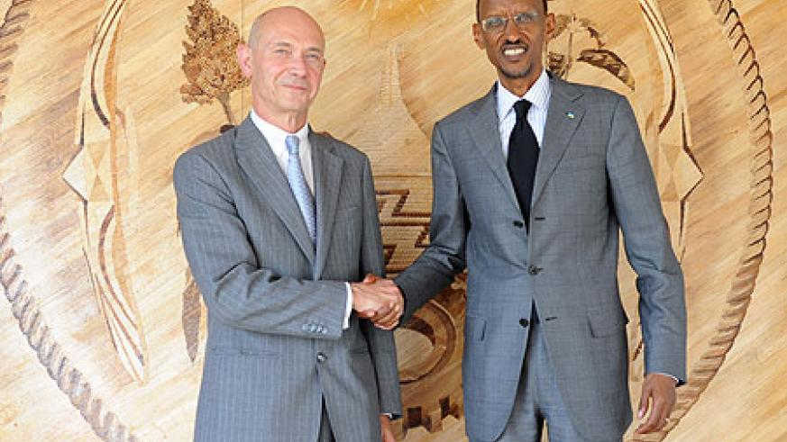 President Kagame with the Director General of World Trade Organisation (WTO), Pascal Lamy, yesterday (Photo Urugwiro Village)