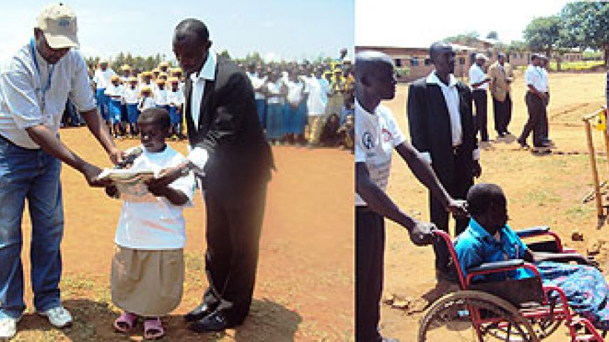 L-R : A disabled girl giving a speech at a school function to highlight the plight of  handcapped children.(Photo;S. Rwembeho) ; A parent pushes a disabled child to school as local leaders look-on. (Photos, S. Rwembeho)