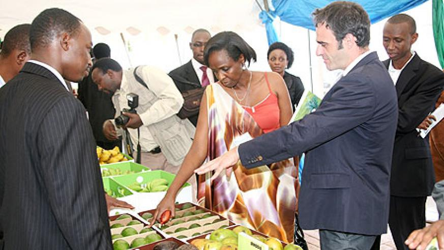 The Minister of Agriculture, Dr. Agnes Kalibata touring the stalls at the horticulture Expo yesterday (Photo; T. Kisambira)