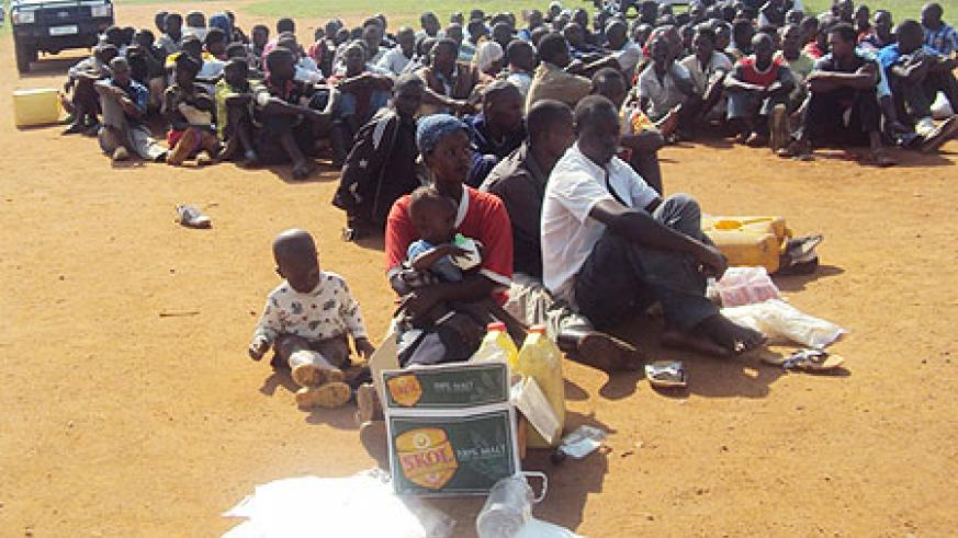 A cross section of people who were arrested with illicit drugs in Nyagatare sector. (Photo;D Ngabonziza)