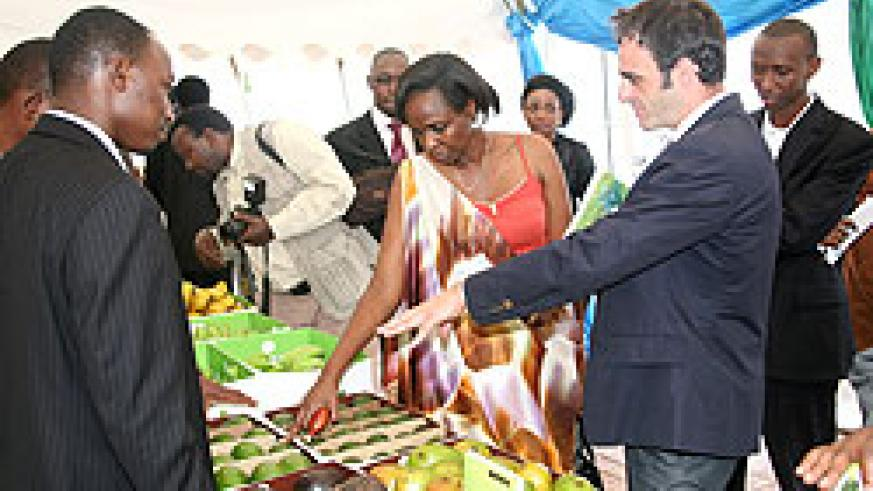 Official inspecting some of Rwanda's agricultural products, yesterday, during the agribusiness investment forum (photo / T. Kisambira)