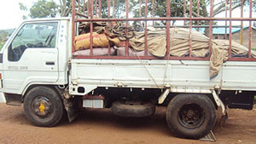 The impounded truck with sacks of fertilisers at Kiramuruzi Police Post (Photo; D Ngabonziza)