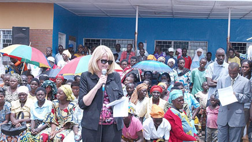 Anne Smith, CHF International country director,  delivering her speech at the function. (Photo / R.  Mugabe)