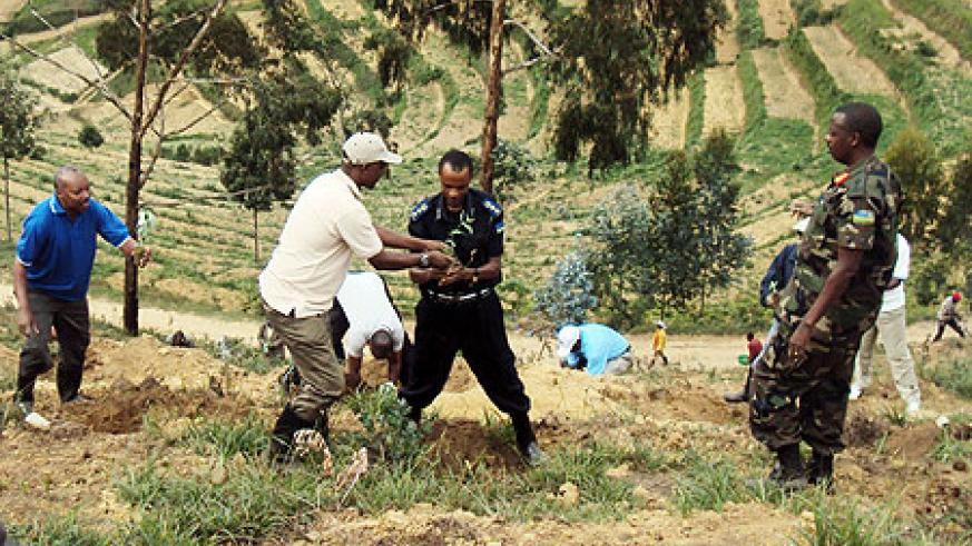 Governor Celestin Kabahizi (L) and other local leaders during the tree planting exercise (photo S Nkurunziza)