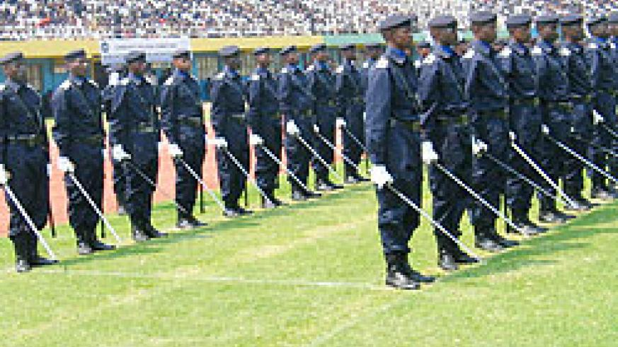 Police officers at a past parade. File photo