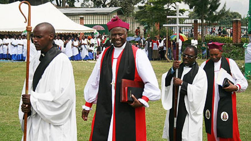 Bishop Dr Laurent Mbanda being led to the enthronement.Photo Anee Reed