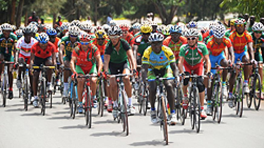 Riders pacing their bikes during the final phase of the Africa continental road cycling race in Kigali. The focus has now shifted to tour of Rwanda. (Photo T.Kisambira)