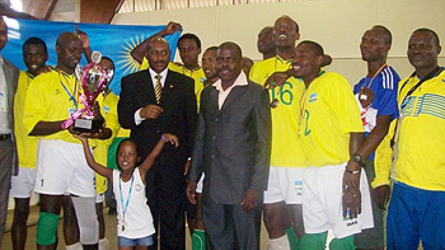 The National men's sitball team after winning the World Cup in Kampala .(Photo P.Bakomere)