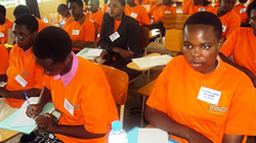 Students during the workshop organised by the Imbuto Foundation (Photo; S. Rwembeho)
