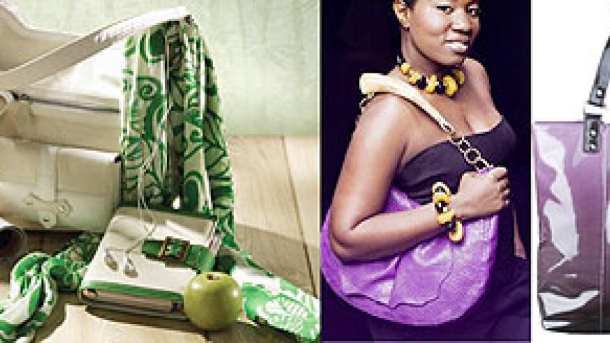 L-R : Handbags are one of women's best friends ; Seasonal bags; this water proof handbag is most appropriate for the rainy season.