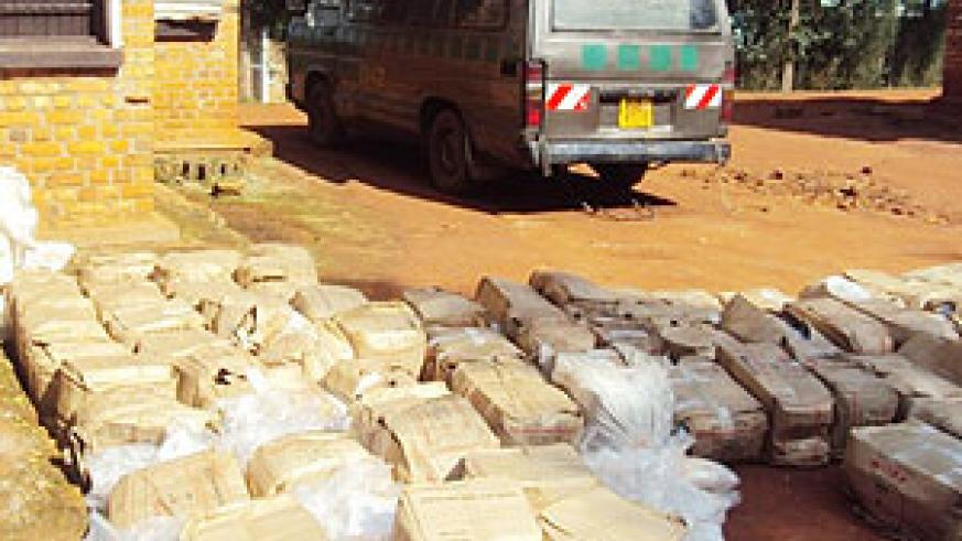 The impounded vehicle with cartons of illicit brew at Kabarore Police Post (Photo; D.Ngabonziza)