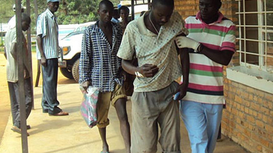 Some of the grenade victims being at Nyagatare hospital recently (File photo)