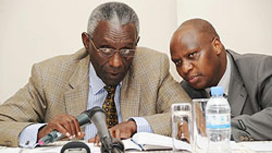 EYEING THE POLLS; Chairman Chrysologue Karangwa (L) and Executive Secretary Charles Munyaneza at the press conference recently (File photo)