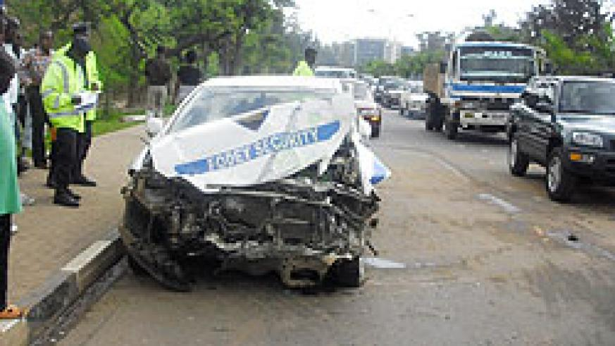 This Fodey Security car collided with a commuter taxi Bus near Parliament Building yesterday (Photo; G. Majyambere)