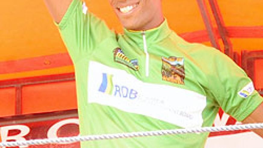 Eritrea's Daniel Teklehaimanot waves to the crowd after being crowned champion of this year's tour of Rwanda. (Photo. J. Mbanda)