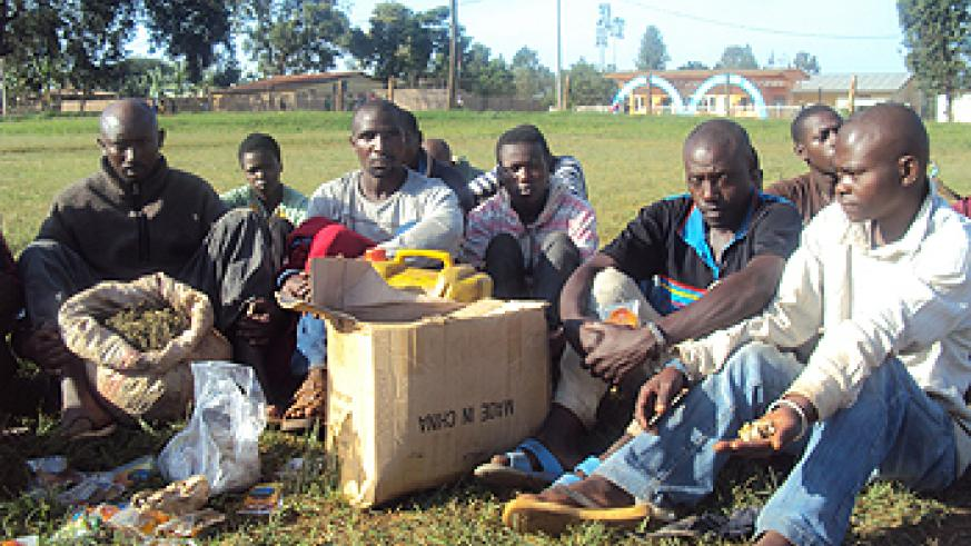 Suspected Marijuana dealers paraded by police yesterday (Photo; S. Rwembeho)