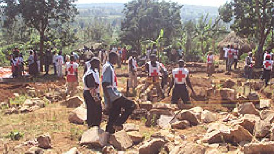 Rwanda Red Cross (RRC) volunteers laying foundation of the houses in Nyamata Sector, Bugesera district. Photo G. Mugoya