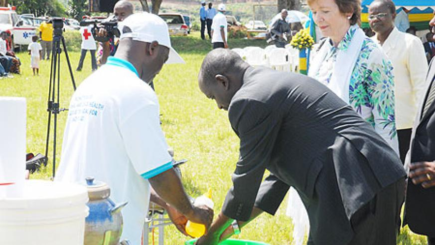 Health Minister, Dr Richard Sezibera and GAVI boss Mary Robinson during the launch of the Mother and Child Week this week (File Photo)