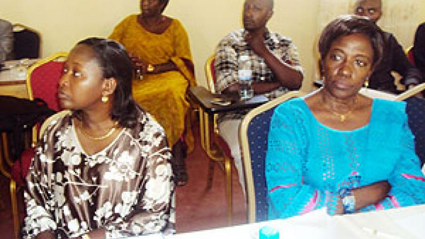 Minister Solina Nyirahabimana (R) and Hon. Constance Rwaka during the meeting. Photo S. Rwembeho