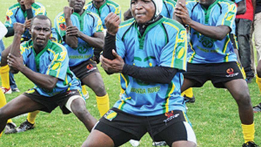 Silverbacks doing their trade mark 'haka' shortly before the final of this year's CAR 15s. They beat Burundi to lift the title for a third consecutive time. (File Photo)